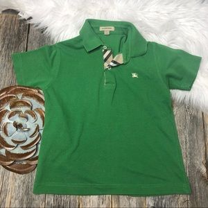 Burberry Boys Polo 8 Green ShortSleeve Plaid Lined